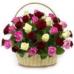букет троянд в кошику