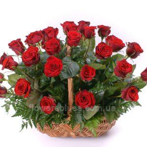 троянди в кошику