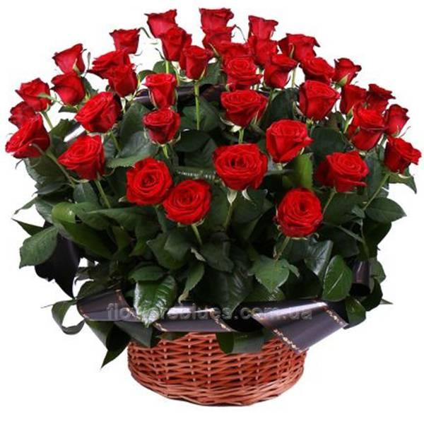 червоін троянди в кошику